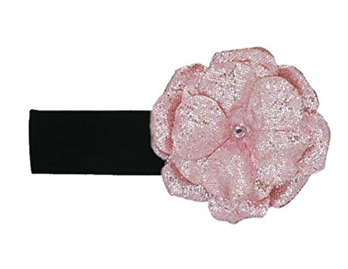 Jamie Rae Hats Black Soft Headband with Sequins Pale Pink Rose, Size: 12m+