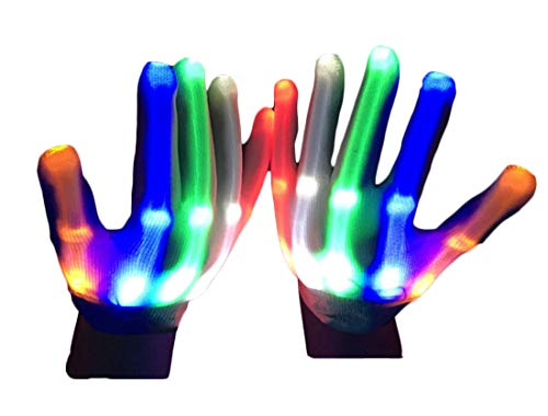 CANDA Led Flashing Gloves Toys, Cool Colorful Party Favor Gloves for Kids Gifts for Parties, Halloween, Christmas Parties and Light Show Dancing