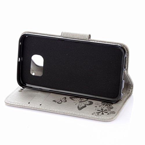 Custodia Samsung Galaxy S7 G930F Cover Case, Ougger Fiore Farfalla Portafoglio PU Pelle Magnetico Stand Morbido Silicone Flip Bumper Protettivo Gomma Shell Borsa Custodie con Slot per Schede (Grigio)