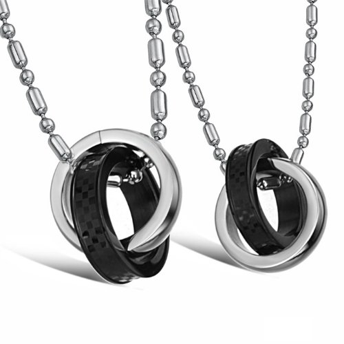 3Aries Fashion Titanium Stainless Steel Black and Silver 2 Rings Mixed Together Men Couple Necklaces