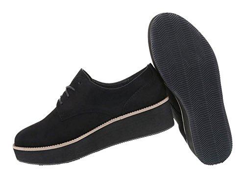 Damen Schuhe Halbschuhe Schnürer Boots Schwarz
