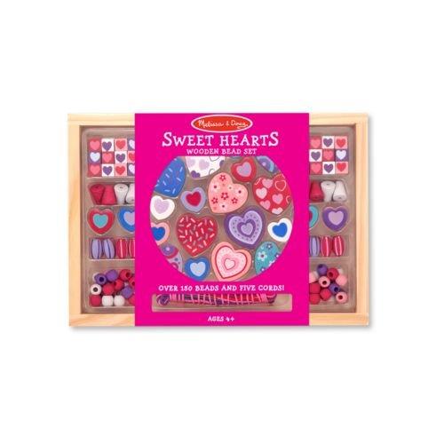 (Melissa & Doug Wooden 'Sweet Hearts' Bead Accessory Creation Set + FREE Scratch Art Mini-Pad Bundle [41751])