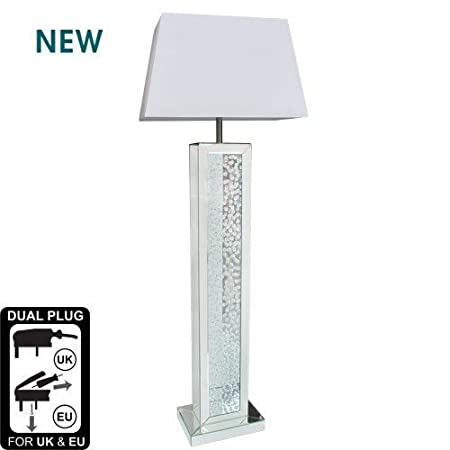 Mirrored Astoria Floor Lamp with floating crystal base design ...