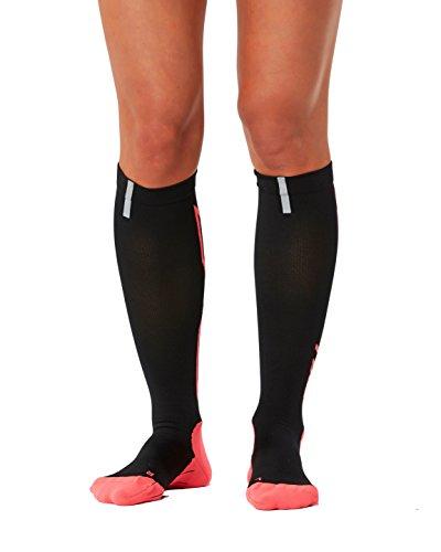 - 2XU Women's Hyoptik Compression Socks, Black/Pink, Medium