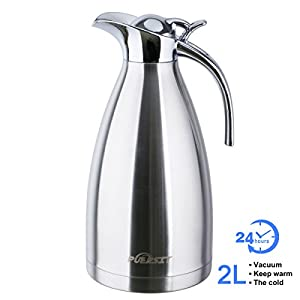 Puersit 68 Ounces Large Thermos 24 Hour Heat Retention 2L Vacuum Thermos Jug Double-Wall Insulated Coffee Carafe for Coffee Pot Hot Beverage Dispenser