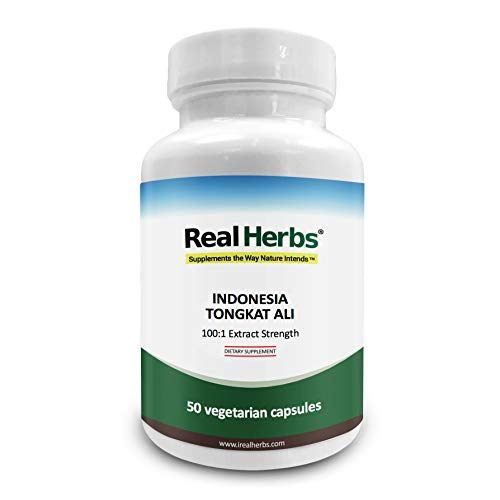 Real Herbs Indonesian Tongkat Ali Extract 800mg - 100 to 1 Extract Strength - Natural Testosterone Booster - 50 Vegetarian Capsules