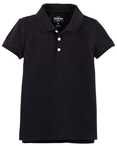 (Osh Kosh Girls' Short Sleeve Uniform Polo, Black 1, 10-12)