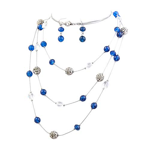 Bocar New Beautiful Fashion 3 Layer Handmade Jewelry Set Long Illusion Necklace (Plated Silver-Blue)