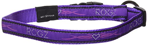 "Rogz Fancy Dress Large 3/4"" Beach Bum Side-Release Fashion Dog Collar, Purple Chrome Design"