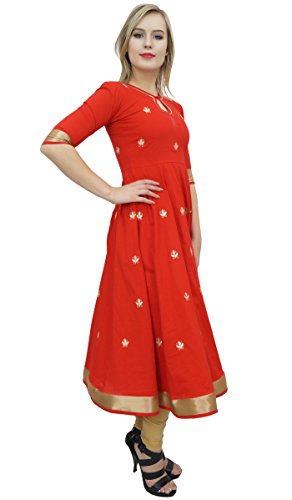 Bimba Designer Red Anarkali Kurta Indian Ethnic Gota Work Cotton Kurti-10 by Bimba (Image #2)