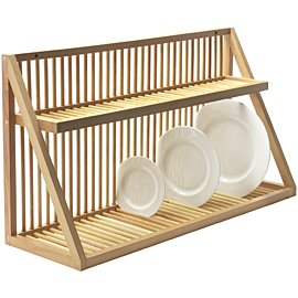 Wall mounted wooden plate rack large for Egouttoir vaisselle mural