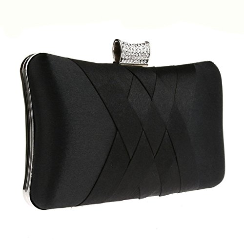 Party Handheld Clutch Wedding Black Purse Prom Evening Satin Bridal Elegant Handbag qU8fIxwt8O
