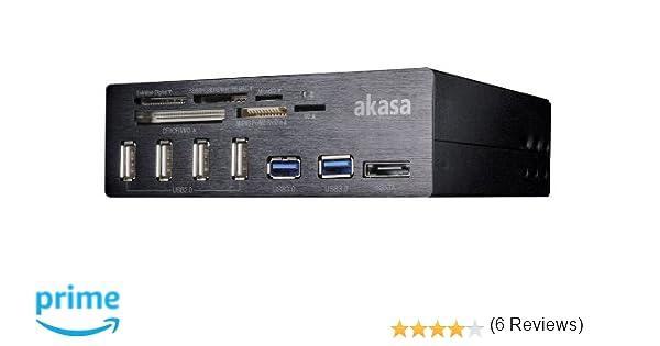 Akasa InterConnect Pro - Lector de Tarjetas de Memoria (Indicadores LED, USB), Negro