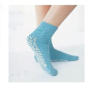 Medline Blue Adult Soft Knit Gripper Slippers - 12 Pairs - 1 Size Fits Most: Industrial & Scientific