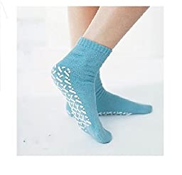 Medline Blue Adult Soft Knit Gripper Slippers - 12 Pairs - 1 Size Fits Most