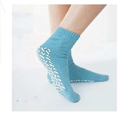 - Medline Blue Adult Soft Knit Gripper Slippers - 1 Size Fits Most - 12 pairs