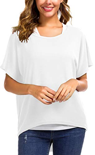 UGET Women's Sweater Casual Oversized Baggy Loose Fitting Shirts Batwing Sleeve Pullover Tops (US 2-4 /Asia S, 01-White)