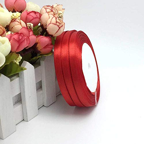 1 Pc 25 Yard Satin Ribbon 1/4 inch Satin Ribbon for Sewing Single Face Satin Ribbon 25 Yards/Roll Color Gift Packing Wedding Decor, DIY Dress, Flower, Postcard, Hairband, Wrapping (Red)