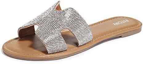 f747ade51ec1 FITORY Womens Flat Sandals Slides Rhinestones Slip On Outdoor Shoes Size 6 -11