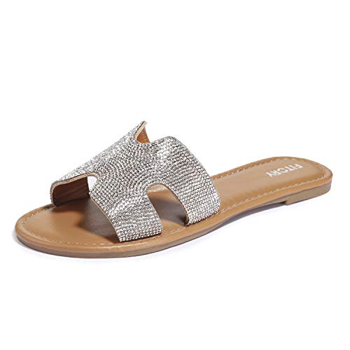 (FITORY Womens Flat Sandals Slides Rhinestones Slip On Outdoor Shoes Size 6-11 Silver)
