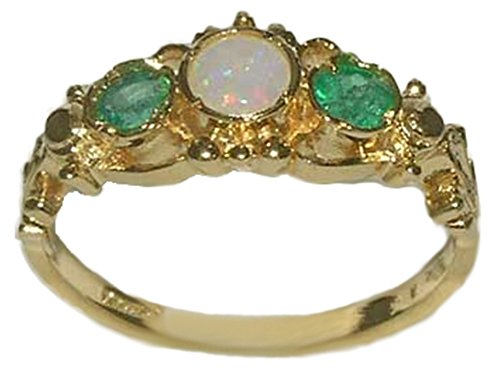 LetsBuyGold 10k Yellow Gold Real Genuine Opal & Emerald Womens Trilogy Engagement Ring - Size 6