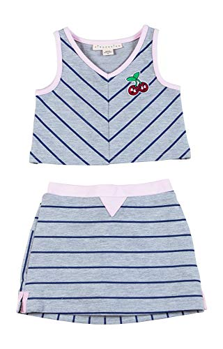 Girls Striped French Terry TOP and Skort Grey