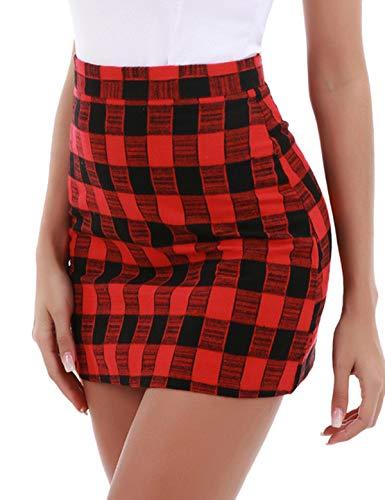 Red Plaid Schoolgirl Skirt (ZEGOLO Womens Plaid Mini Skirt High Waist Zipper A-Line Cute Plaid Girls Casual Mini Short Bodycon Skirt)
