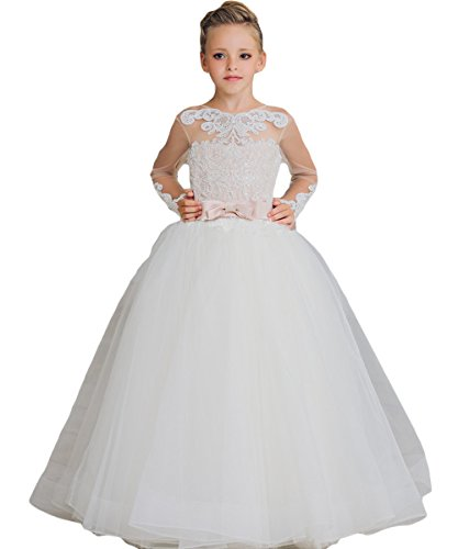 Newdeve Ball Gown Flower Girls Dresses Baby Birthday Gown With Bow Sash (8, White) by New Deve