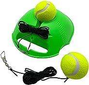 TaktZeit Tennis Trainer Self Training Rebound Baseboard Tennis Training Gear with 2 String Balls (FlashGreen-1
