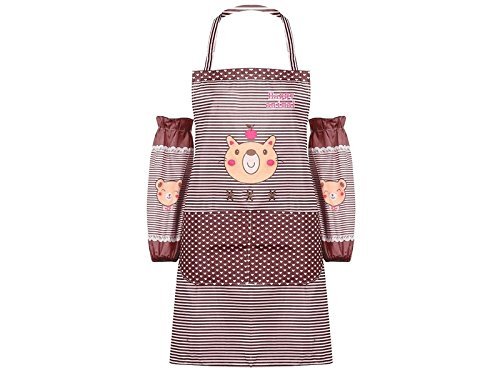 GYPO Convenient Cartoon Cute Bear Striped Apron Two Arms Sleeves (Brown) Cooking