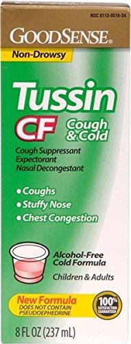 GoodSense Tussin Pe Cf Cough & Cold New Formula 8 oz - CASE of 24