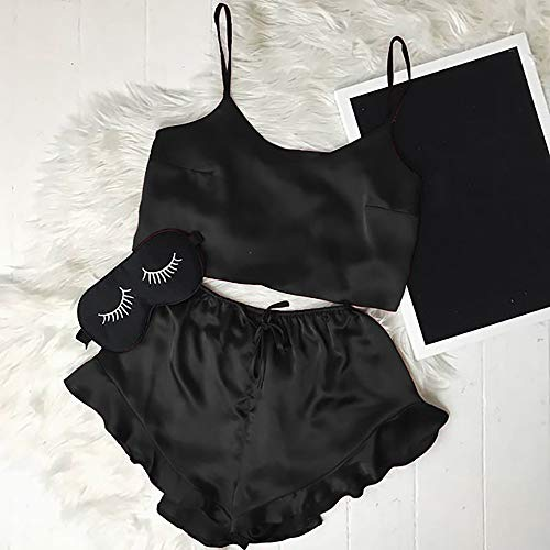 - YOMXL Sling Satin Silk Pajamas Set,Women Sexy Lingerie Strap Cami Crop Top + Ruffle Hem Shorts Two Pieces Jumpsuit Outfits
