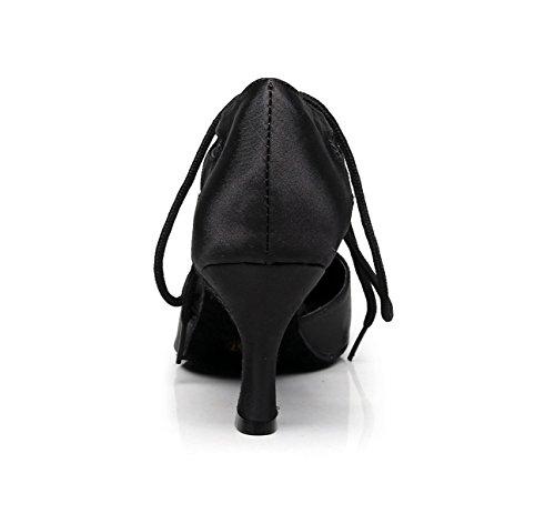 JSHOE Womens Latin Dance Fermé Orteil Talon Haut Salsa / Tango / Chacha / Samba / Moderne / Jazz Chaussures Sandales Talons Hauts,Black-heeled7.5cm-UK4/EU35/Our36