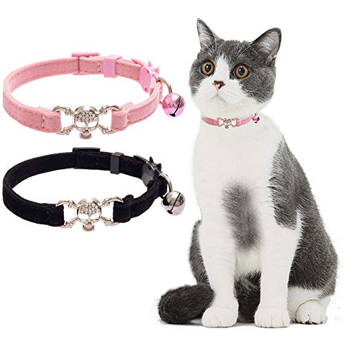 (KOOLTAIL Breakaway Cat Collar Bling Skull with Bell - 2 PCS Charming Pet Collars with Safety Buckle Accessory for Cats Kitten,Black&Pink)