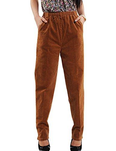 Elastic Waist Corduroy Pants - Zoulee Women's High Waist Corduroy Casual Trousers Elastic Stretch Warm Pants Camel M Fit W35×L38