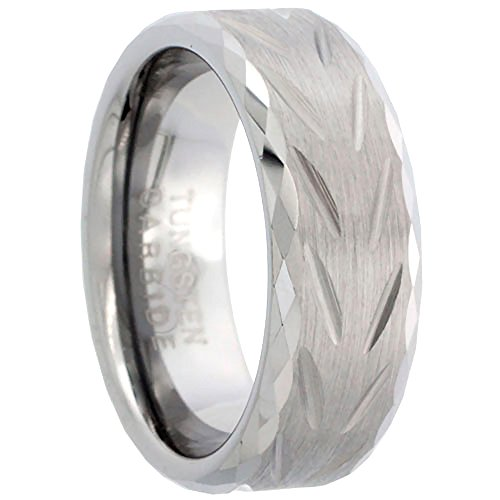 - Sabrina Silver 8mm Diamond Cut Tungsten Wedding Ring for Men Chevron Pattern Faceted Edges Diamond-cut Matte Finish, size 13.5