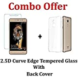 """M.G.R.J Transparent Back Cover + Tempered Glass ( Combo Pack ) For Coolpad Note 5 Lite (5"""" inch)"""