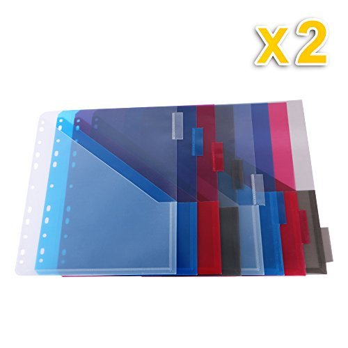 Two-Pocket Plastic Dividers, 8 Multicolor Tabs, 2 Sets
