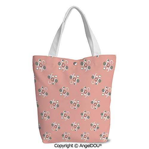 Shopping bag Cool Tote Canvas bag for Women Retro Brushstroke Circle Flowers wit]()
