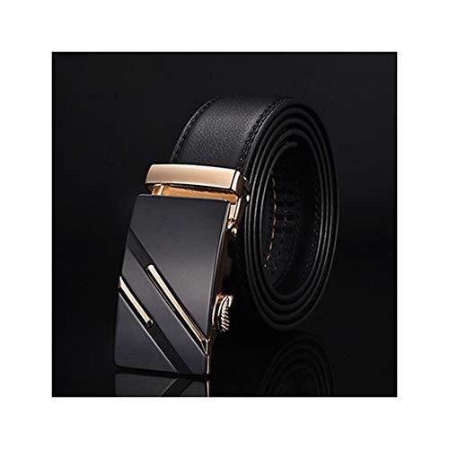 Men Belt Male Formal Leather Strap Belts Automatic Buckle Black Belts(NE305 gold,125cm 37to40 Inch) ()