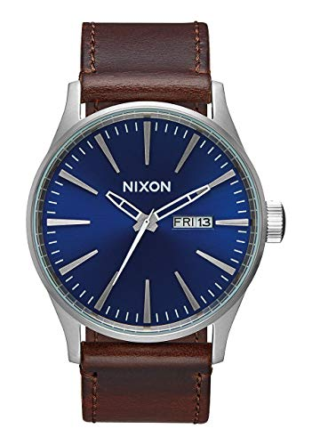 NIXON Sentry Leather A111 - Blue/Brown - 106M Water Resistant Men's Analog Classic Watch (42mm Watch Face, 23mm Leather Band) ()