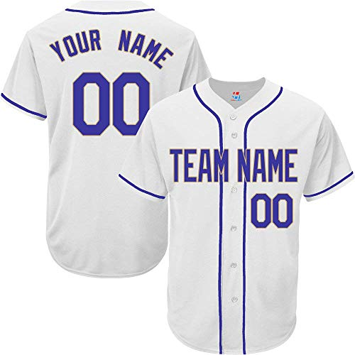 White Custom Baseball Jersey for Men Women Youth Full Button Embroidered S-5XL Royal Blue Gold]()