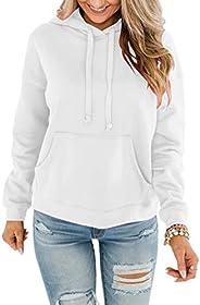 Bingerlily Women's Casual Hoodies Long Sleeve Solid Lightweight Pullover Tops Loose Sweatshirt with Po