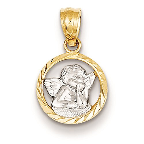 14K Two-Tone Gold Cherub in Circle Charm Pendant