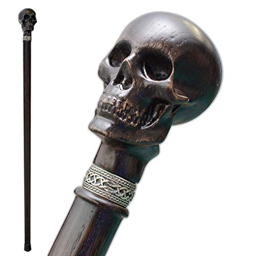 Fancy Carved Walking Cane for Men - Skull - Stylish Wooden Men's Knob Canes and Walking Sticks Fashionable]()