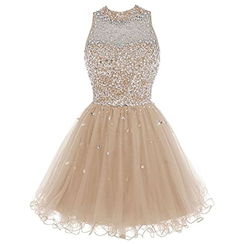 Bbonlinedress Short Tulle Beading Homecoming Dress Prom Gown Champagne 10