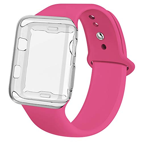 jwacct Compatible for Apple Watch Band with Screen Protector 44mm, Soft Silicone Replacement Sport Band Compatible for Apple iWatch Series 4