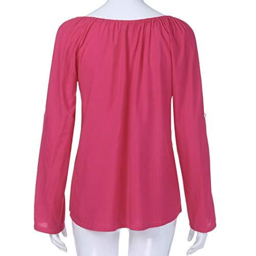 Longues DEELIN Dentelle en d'paule Rose Manches Manches Shirt Longues T Chaud 8qFpU