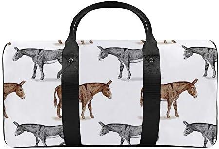 ロバ1 旅行バッグナイロンハンドバッグ大容量軽量多機能荷物ポーチフィットネスバッグユニセックス旅行ビジネス通勤旅行スーツケースポーチ収納バッグ