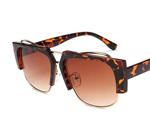 voyager soleil protection de plein Huyizhi de Brown Unisexe lunettes lunettes la UV400 cadre Cool léopard pêche soleil air Light en demi zz0Cwq1U